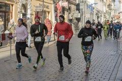 Nowego roku ` s wigilia biegająca w Krakow Fotografia Royalty Free