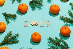 Nowego roku skład 2019 Boże Narodzenia obramiają z tangerines, jodeł gałąź i drewnianym literowaniem 2019 z uśmiechem, Mieszkanie Zdjęcie Royalty Free