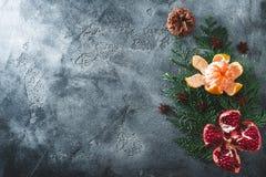 Nowego Roku skład wyśmienicie garnet, mandarynka cynamon i anyż na ciemnym tle Wakacje jedzenie, kopii przestrzeń Mieszkanie niea obraz stock