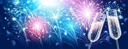 Nowego roku szampan i fajerwerki Zdjęcie Royalty Free