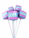 Nowego roku 2015 sześcianu Kolorowi balony Obraz Stock