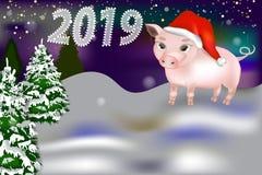 Nowego roku 2019 sztandar z śliczną świnią ilustracja wektor