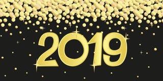 Nowego Roku sztandar z złotymi confetti 2019 i liczbami royalty ilustracja