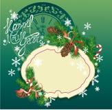 Nowego Roku tło - jedlinowe gałąź c i sosna ilustracji