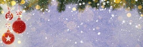 Nowego roku tło na śniegu Zdjęcia Stock