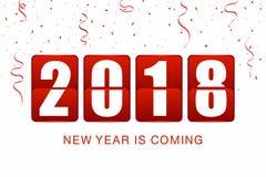 Nowego roku 2018 tło Nowego roku trzepnięcia zegarowy kontuar z confetti i faborkami na białym tle Zdjęcie Royalty Free