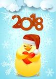 Nowego Roku tło z ślicznym kurczątkiem, sercem i Santa kapeluszem, Zdjęcia Stock