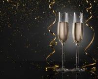 Nowego roku tło z szampańskimi fletami obraz royalty free