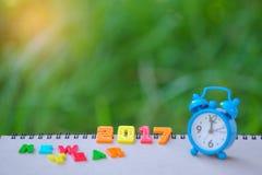 Nowego roku teksta 2017 liczba z zegarem Fotografia Stock