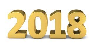 Nowego roku teksta złoto 2018 3D Zdjęcia Royalty Free