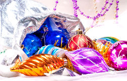 Nowego roku tło z kolorowymi dekoracjami Zdjęcia Royalty Free