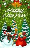 Nowego Roku wakacje karta z bałwanem i Xmas prezentem royalty ilustracja