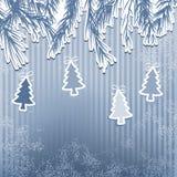 Nowego Roku wakacje z wiszącym drzewem. + EPS8 Obrazy Stock