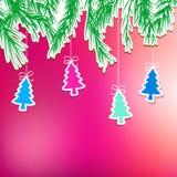 Nowego Roku wakacje z wiszącym drzewem. + EPS8 Zdjęcia Royalty Free
