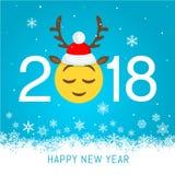 Nowego roku 2018 wektorowy kartka z pozdrowieniami Zdjęcia Royalty Free