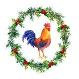 Nowego roku wianek, koguta kogut - symbol chińczyka kalendarz 2017 Akwarela ptak Fotografia Stock