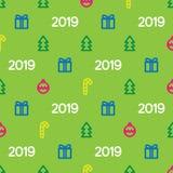 Nowego Roku 2019 wzór z prezentami, choinką i dekoracyjnymi ornamentami, Wzór dla gratulacj na nowym roku i ilustracji