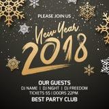Nowego Roku 2018 zaproszenia dekoraci partyjny plakatowy projekt Xmas szablonu wakacyjny tło z płatkami śniegu royalty ilustracja