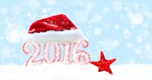 Nowego roku 2016 znak z Święty Mikołaj kapeluszem Fotografia Royalty Free