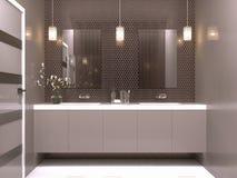 Nowej nowożytnej łazienki wewnętrzny projekt royalty ilustracja