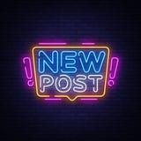 Nowej poczty teksta Neonowy wektor Blogging neonowy znak, projekta szablon, nowo?ytny trendu projekt, nocy signboard, noc jaskraw ilustracja wektor