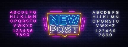 Nowej poczty teksta Neonowy wektor Blogging neonowy znak, projekta szablon, nowo?ytny trendu projekt, nocy signboard, noc jaskraw ilustracji