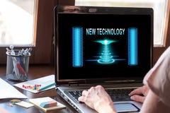 Nowej technologii pojęcie na laptopu ekranie Obrazy Stock