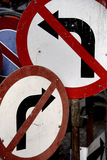 Nowhere to turn. Rusty old signs. Two old road signs offer no positive directional advice Royalty Free Stock Photos