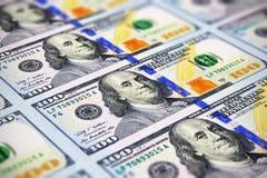 Nowi 100 dolarów amerykańskich banknotów Fotografia Royalty Free