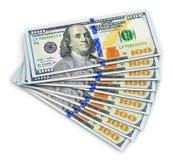 Nowi 100 dolarów amerykańskich banknotów Zdjęcia Royalty Free
