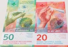 Nowi dwadzieścia i pięćdziesiąt Szwajcarskiego franka rachunków Obraz Royalty Free