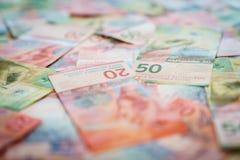 Nowi dwadzieścia i pięćdziesiąt Szwajcarskiego franka rachunków Zdjęcia Royalty Free