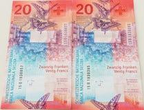 Nowi dwadzieścia Szwajcarskiego franka rachunków Obrazy Royalty Free