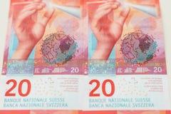 Nowi dwadzieścia Szwajcarskiego franka rachunków Zdjęcia Royalty Free