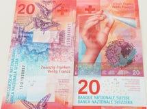 Nowi dwadzieścia Szwajcarskiego franka rachunków Zdjęcie Royalty Free