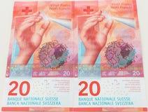 Nowi dwadzieścia Szwajcarskiego franka rachunków Zdjęcia Stock
