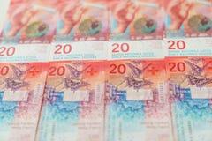 Nowi dwadzieścia Szwajcarskiego franka rachunków Obraz Stock