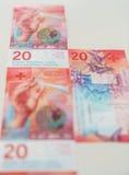 Nowi dwadzieścia Szwajcarskiego franka rachunków Obraz Royalty Free