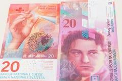 Nowi i starzy dwadzieścia Szwajcarskiego franka rachunków Obrazy Royalty Free