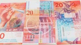 Nowi i starzy dwadzieścia Szwajcarskiego franka rachunków Zdjęcie Royalty Free
