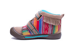Nowi kolorowi mody dziecka buty odizolowywający na białym tle Zdjęcie Stock