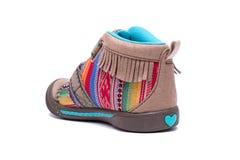Nowi kolorowi mody dziecka buty odizolowywający na białym tle Obrazy Stock