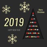 Nowi 2019 rok Kartka bożonarodzeniowa, choinka i płatki śniegu na ciemnym tle, Zdjęcie Royalty Free