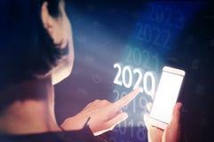 Nowi 2020 rok w zaawansowany technicznie zdjęcie stock