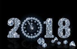 Nowi 2018 rok z diamentu zegarem, tapeta, wektor Obrazy Stock
