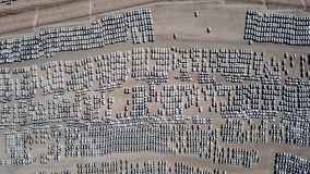 Nowi samochody zakrywający w ochronnych białych prześcieradłach Zdjęcia Stock
