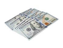Nowi sto dolarowych rachunków odizolowywających Zdjęcie Royalty Free