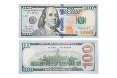 Nowi 100 Usa dolarowy rachunek na bielu, makro- strzał S 100 dolarowy rachunek, Zdjęcie Royalty Free