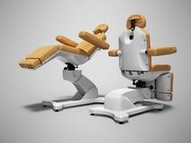 Nowożytnego brązu pedicure'u rzemienny krzesło w fałdowym i wyjawionym prawo stanowe widoku 3d odpłaca się na szarym tle z cienie ilustracja wektor