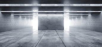 Nowożytnego Futurystycznego Betonowego tła Grunge Ciemnej przestrzeni garażu Hall korytarza Pustego Tunelowego statku kosmicznego ilustracja wektor